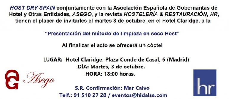Invitación a la Presentación del Sistema de limpieza Host en Madrid